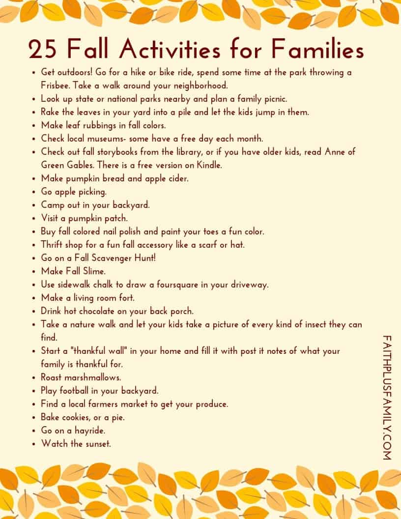 25 Fall Activities for Families