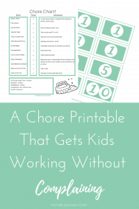 A Chore Printable That Gets Kids Working Without