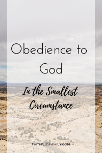 Obedience to God in the Smallest Circumstance
